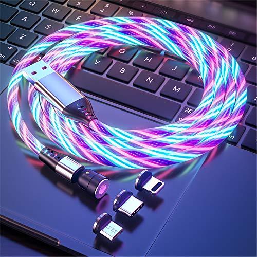 Fließendes LED Magnetisches Ladekabel 1M/2M 360° & 180° Drehung 3A Schnellladen Magnet USB kabel Sichtbar Bunt Aufleuchtendes 3-in-1 Magnetkabel für Android,Micro-USB,Type C,Phone,Smartphone Tablette