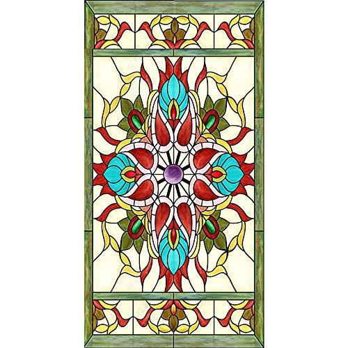 WFYY Vinilo Puerta De Casa Tatuajes De Pared Patrón De Iglesia De Vidrieras Murales De Pared Pegatinas Carteles 88x200Cm
