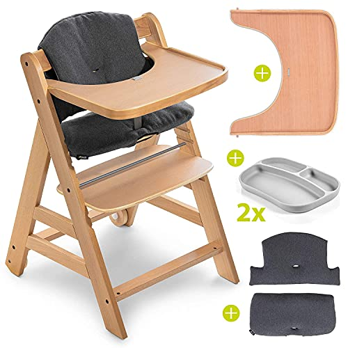 Hauck Seggiolone Set Alpha Plus Move incl. vassoio, cuscino seduta e 2 piatti in silicone - Seggiolone Evolutivo Legno   Seggiolone Pappa Legno con ruote, cintura e vassoio - carbone naturale