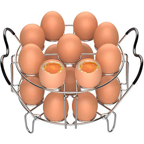 Egg Steamer Rack, Veckle 2 Pack Stackable Instant Pot Egg Rack with Heat Resistant Silicon Handles for Instant Pot Accessories Pressure Cooker 6, 8 Qt,18 Eggs Stainless Steel Steamer Trivet Basket
