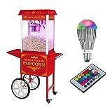 Royal Catering Palomitera Con Carrito E Iluminación LED Diseño Retro Rojo RCPW-16.3 Popcorn Machine LED Set (1600 Watt, Olla Con Revestimiento De Teflón)