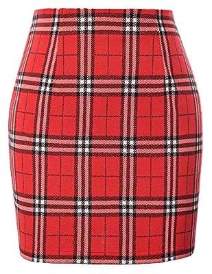 Kate Kasin Womens Plaid Elastic Waist Bodycon Mini Pencil Skirt