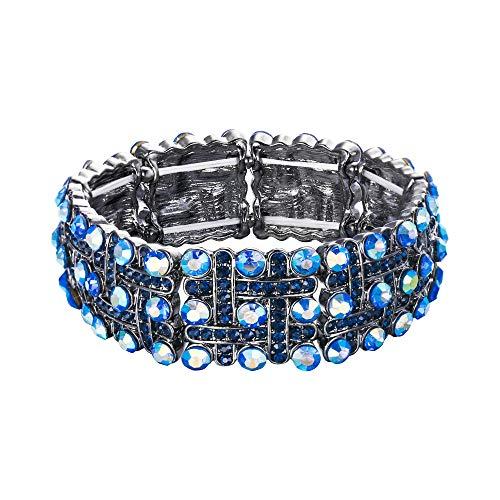 EVER FAITH Kristall Hochzeit Vintage inspiriert Knoten ethnische Stretch-Armband blau schwarz-Ton für Damen Mädchen