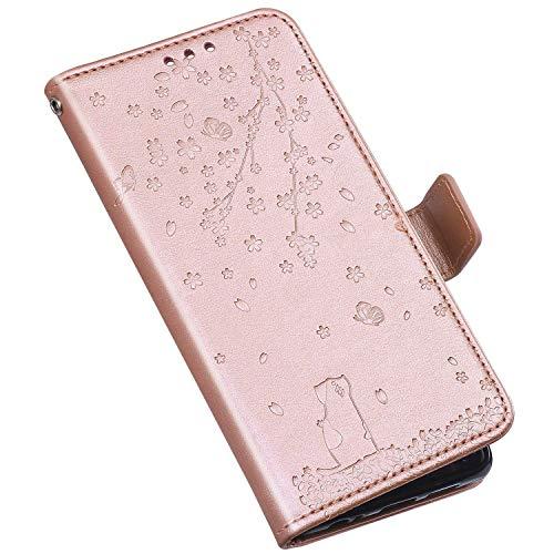 QPOLLY Compatible avec iPhone XR Coque, Élégant Fleurs Chat Motif Housse Portefeuille Cuir PU Flip Etui à Rabat Fermeture Magnétique Case avec Porte Carte Support Stand Fonction,Or Rose