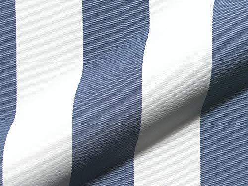 Möbelstoff Outdoor KRETA 715 Streifenmuster weiß-blau als robuster Bezugsstoff, Polsterstoff gestreift zum Nähen und Beziehen für Außen und Innen mit Fleckschutz