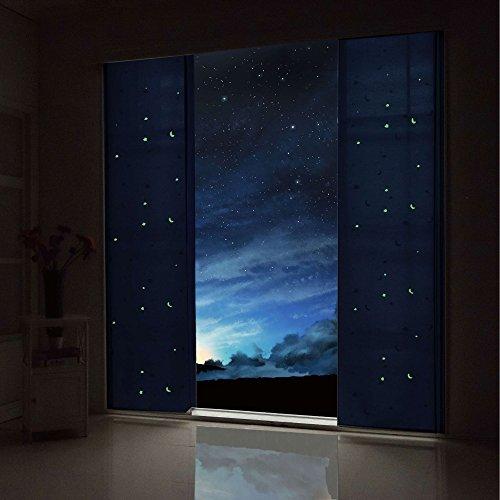 Gardinenbox Flächenvorhang Blickdicht Motiv Sterne Monde fluoreszierend Kinder Kids Paneelwagen Blau 2 Stück 245x60 (Höhe x Breite cm), 80495