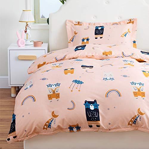 Bedsure Bettwäsche Kinder 100x135 Kinderbettwäsche Mädchen 100 x 135 cm, Bettwäsche Bär Muster mit 40x60 cm Kissenbezug, Bär Baby Bettwäsche Set aus Mikrofaser