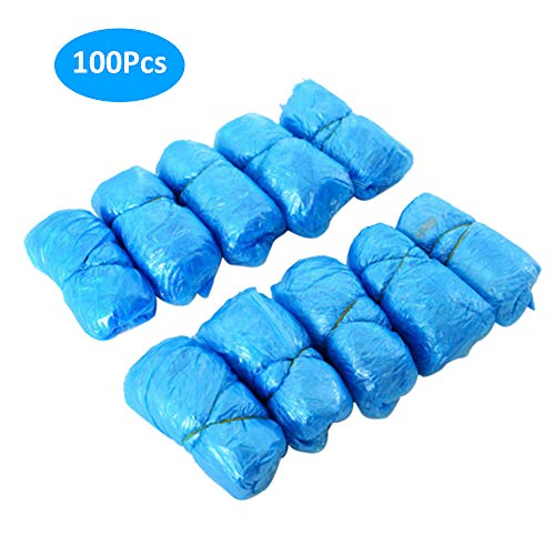 Festnight 100Pcs Copriscarpe USA e Getta Copriscarpa Elasticizzato monouso Resistente all'Acqua Antiscivolo e Copriscarpe per attività domestiche Indoor e Outdoor, Blu
