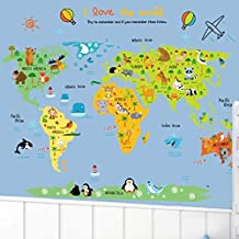 DIY Removable Wall Stickers For Children room Home Decor - Map of the animal world