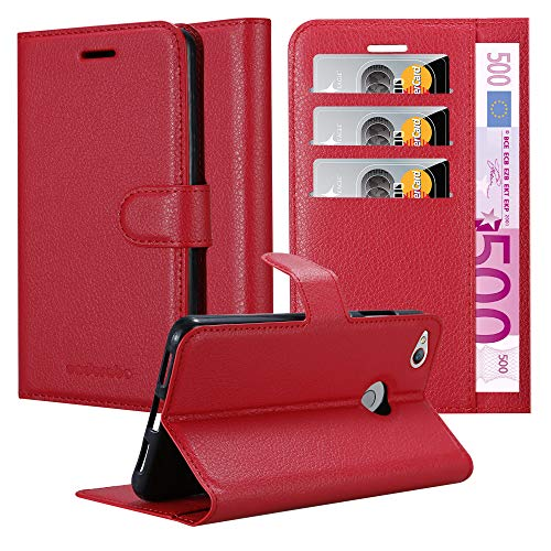 Cadorabo Hülle für ZTE Nubia Z11 Mini S - Hülle in Karmin ROT - Handyhülle mit Kartenfach & Standfunktion - Case Cover Schutzhülle Etui Tasche Book Klapp Style