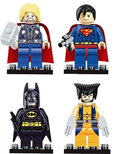 4 piezas de los nuevos superhéroes Marvel Avengers Thor, Wolverine, Superman, Batman, Mini figuras para Lego – Tamaño: aproximadamente 4,5 cm
