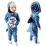 Pajama Completo para Niño Bebé 12 Meses-5 años Dibujos Animados Tiburón Manga Larga Sudadera con Capucha + Pantalones Largo Set Casual Sudadera y pantalón Conjunto (3-4 Años, Azul)