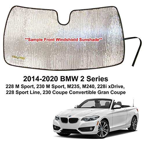 YelloPro Custom Fit Automotive Reflective Front Windshield Sunshade Accessories for 2014 2015 2016 2017 2018 2019 2020 BMW 2 Series 2-Series M228 M230 M235 M240, 228i 228 Sport 230 Coupe Convertible