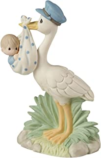 Precious Moments, Love Is On Its Way Stork Bisque Porcelain Figurine, Boy, 153022