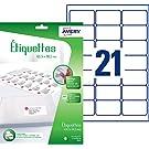 AVERY - Pochette de 252 étiquettes adressage autocollantes, Personnalisables et imprimables, Format 63,5 x 38,1 mm, Impression jet d'encre,