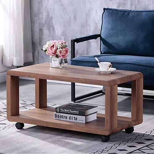 GOLDFAN Table basse avec rangement en bois Table d'appoint rétro rectangulaire sur roulettes pour salon, bureau à domicile Marron