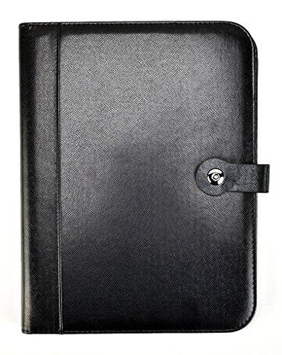 Carpeta de conferencia A4 de material PU negro con calculadora y soporte para bloc de notas, organizador de documentos A4 y tarjetero – con bloc de escritura tamaño carta