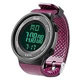デジタル腕時計 メンズ スポーツウォッチ 日付表示 アラーム 大文字盤 LED バックライト ストップウオッチ パープル