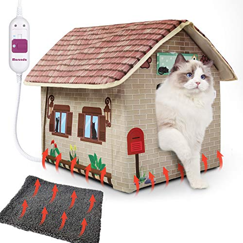 MARUNDA Heated cat Houses for Outdoor Cats in Winter,Heated Outdoor cat House Weatherproof and...