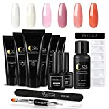 Saint-Acior 6PCS Gel de Construcción UV Poly Builder Rápido 15ml Kit de Poly UV Gel Cleanser Plus 30ml Top Coat Base Coat Herramientas para Uñas