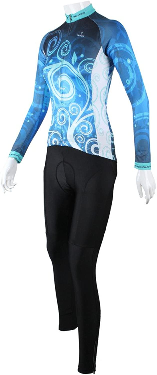 LAOYOU Classic blueee Flower Womens Long Sleeve Cycling Jersey Size XS To 6XL