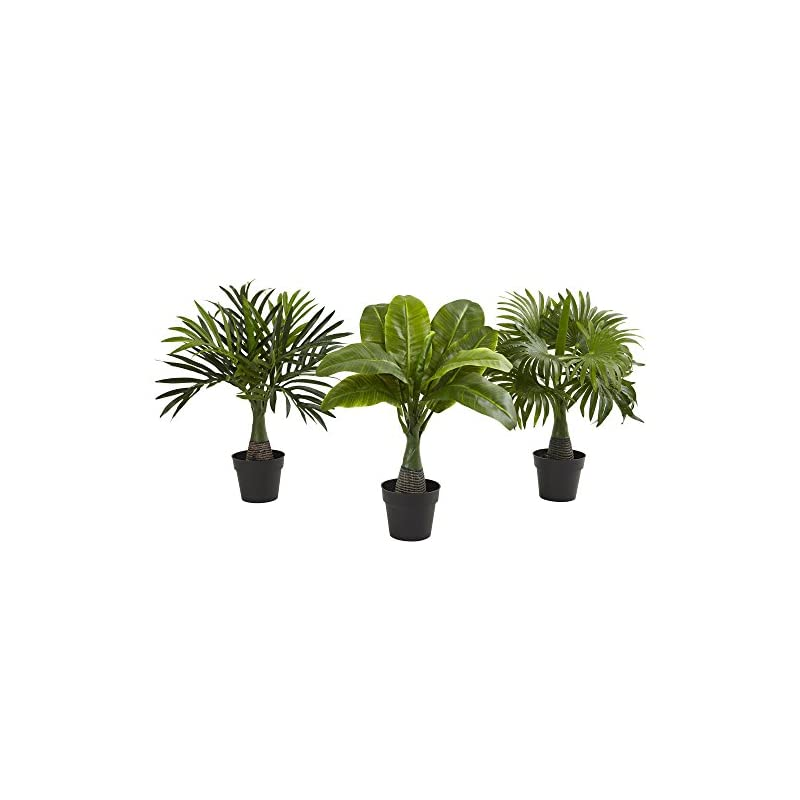 silk flower arrangements nearly natural mini areca, fountain and banana palm trees (set of 3),13 - 15 x13 - 15 x15.5 - 16