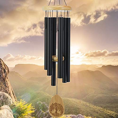In Memory Of Wind Chimes Outdoor Large Deep Tone 30 Inch Memorial Windchime For Outside Engrave LifetreeSympathy Windchime For Loved One Memorial Gift For MotherFriendPet Garden DecorBlack