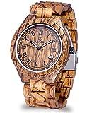 Relojes de madera para hombres con estilo con madera 100% natural veteada tipo cebra.