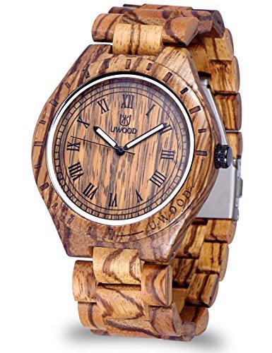 Orologio da polso da uomo, con cinturino in legno di sandalo 100% naturale, al quarzo, fresco, ecologico e rifinito a mano