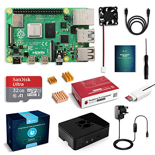 LABISTS Raspberry Pi 4 2GB RAM Starter Kit with Cooling Fan, 32GB SD Card Preloaded with NOOBS, 5.1V 3A USB-C UK 3 Pin Power Supply, Micro HDMI to HDMI Cable, Black Case, Plug and Play Set