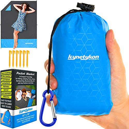 "Pocket Blanket Camping & Hiking Gear - Ultralight Waterproof Outdoor Mat | 55""x70"" | Ideal for All Outdoor Activities: Beach, Picnic, Park, Festivals, Sports | Rain Cover & Sun Tarp"