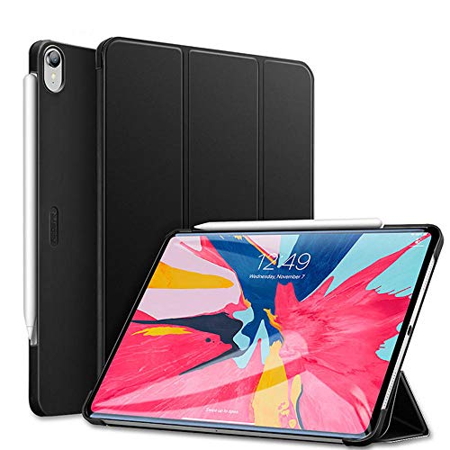 YYLKKB Case for iPad Pro 11 2018 Rubber Oil Cover PU Leather Ultra Slim Fit Trifold Auto Sleep/Wake Smart Case for iPad Pro 2018 11-Black