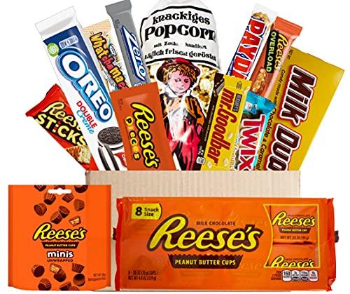 20 teilige Schokoladen USA Box | Exclusive USA XL Box Texas | 14 teilige Amerikanische Süßigkeiten Box incl. frischem Popcorn