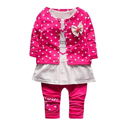 Kolylong Kleidung mädchen 1 Set (6-24 Monate) Baby Mädchen Dot gedruckt Anzug (Tops + Hosen+Äußere) Outfits Kleiderset Herbst Suit...