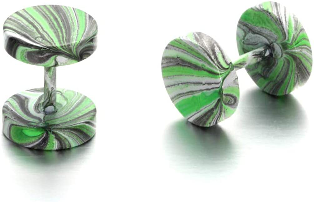 Fusamk Hip Hop Candy Colors Stainless Steel Barbell Round Stud Earrings