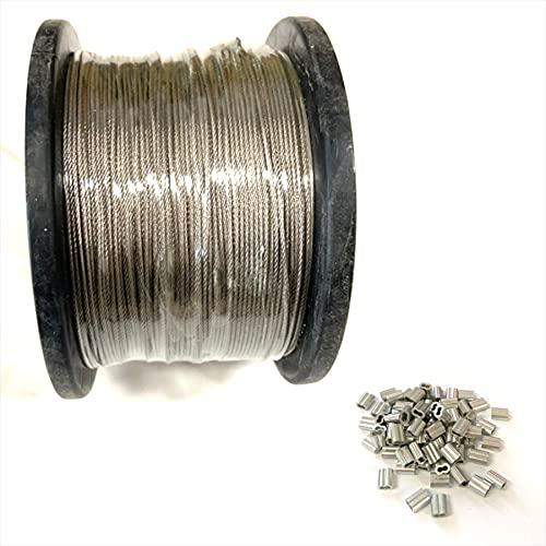 (エスネット) ステンレス 製 ワイヤー ロープ 100m 巻き さびにくい 耐熱 耐食 耐摩耗 洗濯 7×7構造 スリーブ 付き SN-234-WR キャビネット カッター (直径1.5mm スリーブ50個付き)