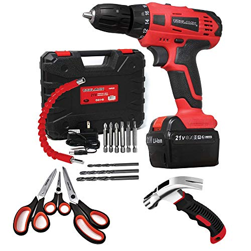 Toolman LED Lithium-ion Cordless Power Drill driver Kit 21V+Stainless Steel with Soft Comfort Grip Scissors Set+8oz Stubby Claw Hammer and Nail Tool ZTP009Q11Q27