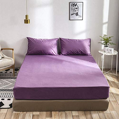 Waterproof Mattress Protector , Anti-mite, Antibacterial,Mattress Topper,Solid Color Brushed Waterproof Fitted Sheets, Suitable For Double Mattress Protector Kids Old Man-purple_153*203*35cm(3pcs)