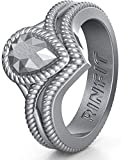 Silicone Wedding Ring for Women by Rinfit. Designed Soft Silicone Rubber Bands. U.S. Design Patent Pending. Size 4-10 (Size 8, Silver....