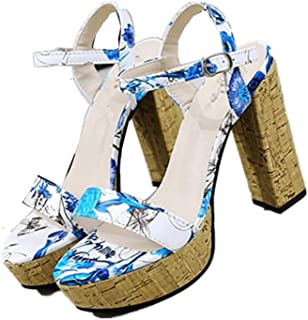 lcky Printed high Heels Popular Women's Shoes Platform Thick Heel Shoes Sandals