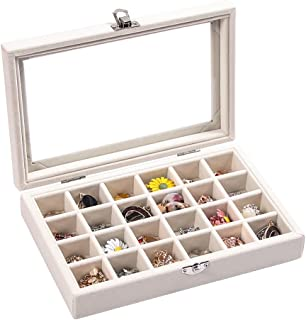 24 Grid beige Velvet Jewelry Drawer Organizer Tray Stackable Jewelry Trays Removable Dividers for Rings Earring Storage Di...