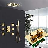 Juego de grifos de ducha termostáticos dorados Grifo monomando termostático dorado empotrado de 3 vías con 6 piezas de chorros de masaje Set de ducha de baño-Juego completo de 12 pulgadas