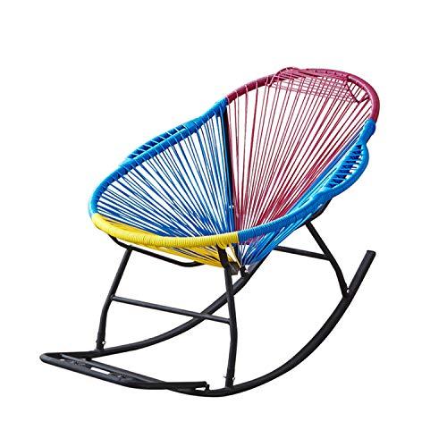 LISA Rocking Garden Chair, Modern Furniture Outdoor Decor Poly Rattan Steel Frame Rainbow Chair