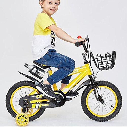 HAIZHEN Kinderwagen Freestyle Kids Bike Jungen und Mädchen Fahrrad mit Trainingsrädern Perfektes Geschenk für Kinder 12-14-16-18 Zoll Für Neugeborene (Farbe : Gelb, größe : 18 inch)