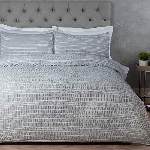 Sleepdown Marl Stripe Grey pflegeleichtes Bettwäsche-Set mit Kissenbezug, Einzelbett (135 x 200 cm), Polyester