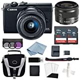 Canon EOS M100 Mirrorless Digital Camera (Black) with 15–45mm f/3.5–6.3 is STM Lens + Advanced Accessory Bundle - Includes to Get Started