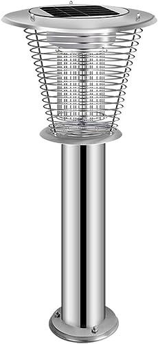 HJZY Tueur Solaire de moustiques Ménage Extérieur en Acier Inoxydable Cour Jardin Jardin étanche Moustique électrique Extérieur Pilier Post Lanterne Haute Puissance Anti-Moustique Artefact