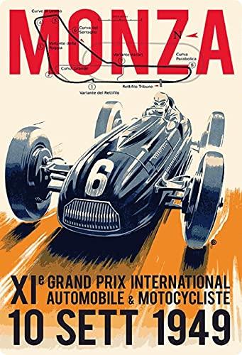 Placa de metal de 20 x 30 cm, diseño retro de Monza 1949
