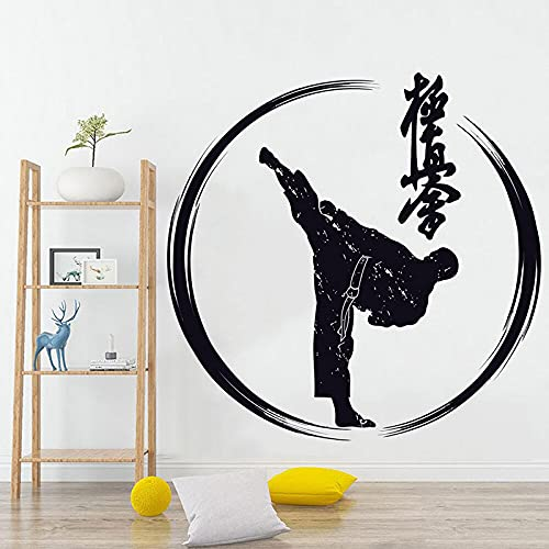 Japonés Karate Sport Logo Sign Artes marciales Fight Foot Kick Action GYM Training Etiqueta de la pared Vinilo Calcomanía para automóvil Boy Bedroom Club Studio Home Decor Mural