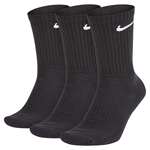 Nike Everyday Cushion Crew Training Socks, Unisex Nike Socks with Sweat-Wicking Technology and Impact Cushioning (3 Pair), Black/White, Large